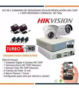 Kit 2 cámaras de seguridad Hikvision HD