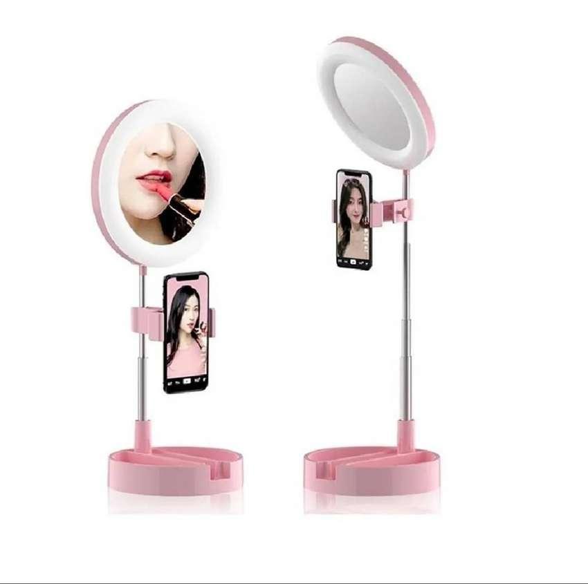 Aro De Luz Con Espejo + soporte Celular Selfies 3 Modos De Luz