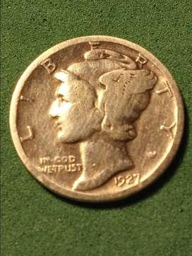#Moneda EEUU 1 Dime  Mercury 1927 Plata
