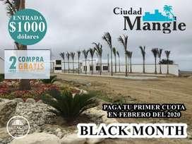 VENDO TERRENO A 35 MINUTOS DE MANTA CIUDAD MANGLE LOTES DESDE 200M2 – 495M2 SIN INTERESES SD2