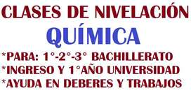Desarrollo de ejercicios de QUÍMICA presencial o en linea para Bachillerato e Ingreso a Universidad