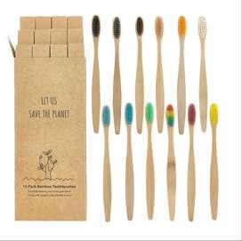 Cepillos de dientes Bambú Biodegradable cerdas suaves bambu, madera