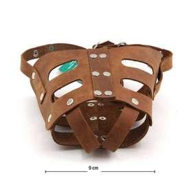 Bozal Canino de Cuero Tamaño Mediano Diseño Suave Ligero y Resistente
