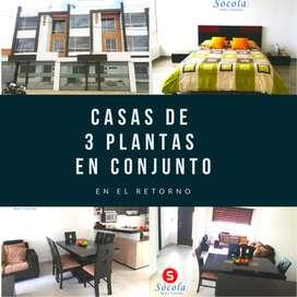 Venta de Casas 3 plantas en conjunto de 142m2 de construcción en El Retorno  Ibarra