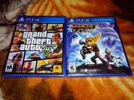 GTA V y Ratchet and Clank PS4 Sellados