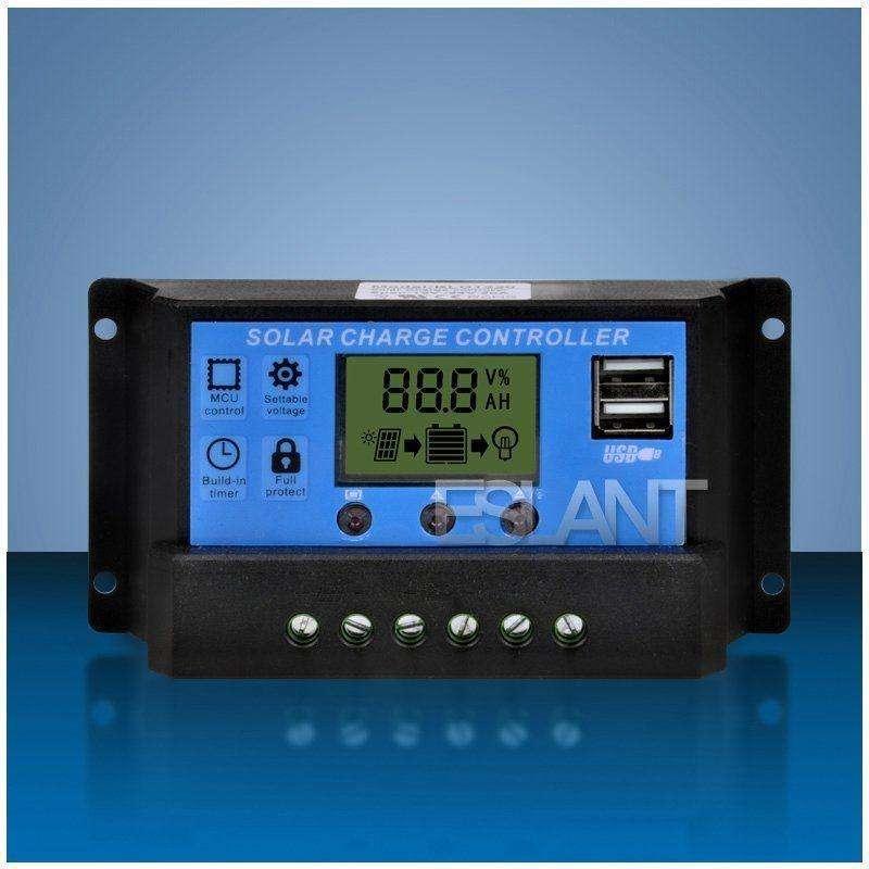 controlador regulador  solar de 30A 12V/24V con PANTALLA LCD y 2 USB 0