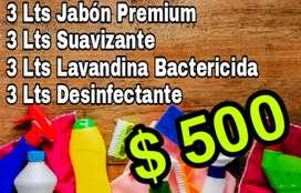 Jabón líquido baja espuma - suavizante - lavandina - desinfectante
