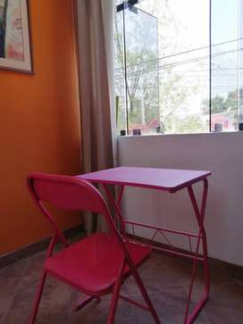 Escritorio metal + silla plegable