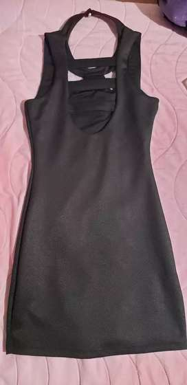 Vestido negro mate