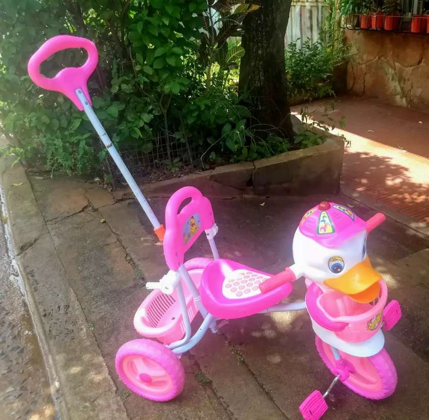 Triciclo paseador patito rosa 0