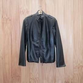 Chaqueta Cuero negra, chaqueta de cuero para mujer talla 8