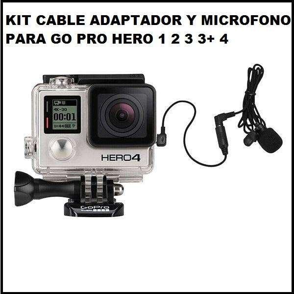 kit cable adaptador y microfono trs go pro hero 1 2 3 3 4