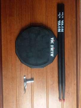 Pad entrenamiento para bateristas baquetas batería y llave batería