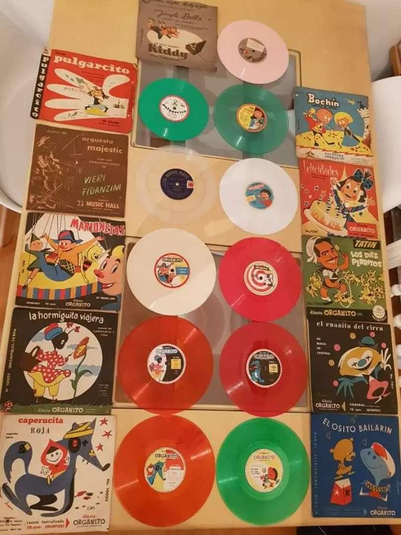 Discos vinilos simples infantiles de colores 0