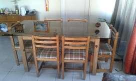 Comedor 6 puestos mesa de vidrio