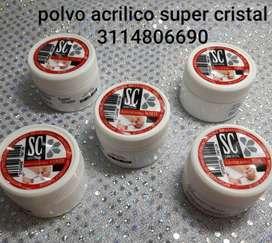 Polvo acrilico marca SUPER CRISTAL  para uñas en acrilico,OBSEQUIO  12 MOLDE GUIAS UÑAS