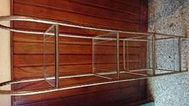 Repisa de baño o para salas varias de vidrio y canos bañado en bronce 4 niveles