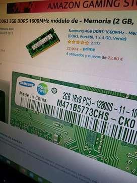 Memoria de 2gb DDR3  pc3 12800. De 1600mhz en 15 $ con entrega a domicilio