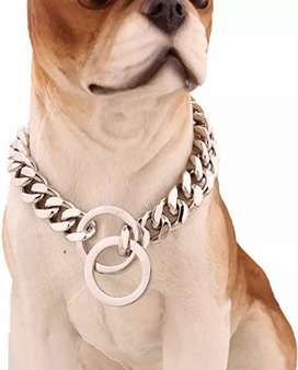Collar de acero inoxidable 12milimetros de lujo para mascotas todas las tallas, ENVIO GRATIS