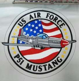 parche bordado us air force p51 mustang