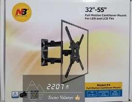 Base soporte P4 de brazo movible para tv de 32 a 55 pulgadas. Viene con tornillos y chazos