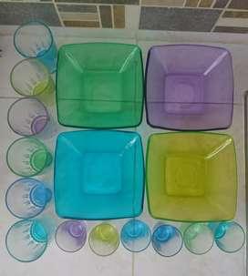 Juego de 16 piezas Marca Cristar multicolor (se vende completo o por separado)