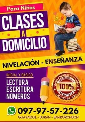 Clases particulares para niños a domicilio de lectura, escritura, números en Guayaquil, Durán y Samborondón
