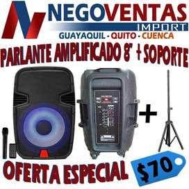 PARLANTE AMPLIFICADO DE 8 PULGADAS MAS SOPORTE