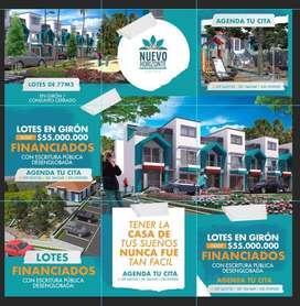VENTA DE LOTES DE 70 m2 EN GIRON CONJUNTO CERRADO Y UNOS LOTES URBANIZACION ABIERTA