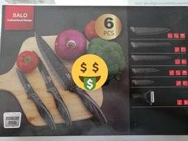 Set de cuchillos en acero inoxidable por 6 piezas Marca SALO
