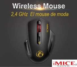 IMice Mouse - Ratón inalámbrico ergonómico 2.4 GHz, alcance 10 mts