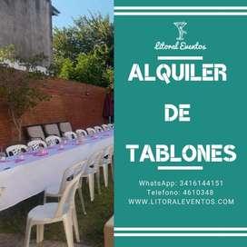 Alquiler de Tablones, Sillas, Mesas Redondas y Manteleria!