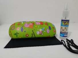 Estuche+líquido antiempañante +pañito microfibra+Cordones