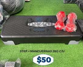 Banco STEP + 2 Mancuernas 2KG cada una.