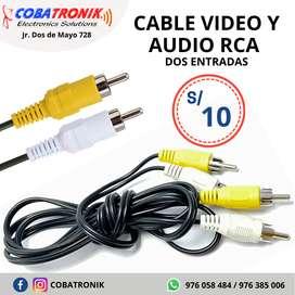 Cable Video y Audio RCA - 2 Pines de Entrada y 2 de Salida