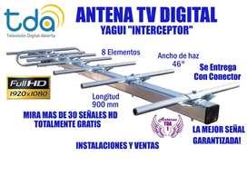 ANTENA TV DIGITAL, TDA AUTENTICA YAGUI 8 ELEMENTOS. MAS DE 30 SEÑALES HD. LA MEJOR SEÑAL GARANTIZADA!