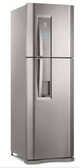 Nevera electrolux, congelador superior 420 litros brutos, color gris.