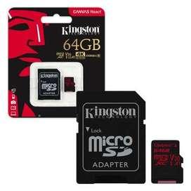 Micro Sd Kinstong 64gb U3 para 4k Gopro 100% Original Canvas React