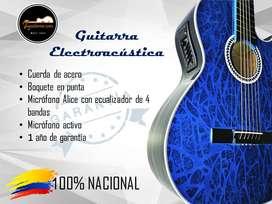 Guitarra Electroacústica Kit +2 clases virtuales personalizadas +forro +Correa +pines +capodastro +plumilla