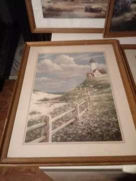 Cuatro cuadros marcó de madera lámina de papel