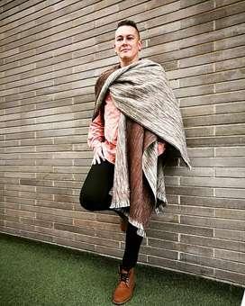 Ruana Hombre Doble Faz. Abierta tipo Fashion