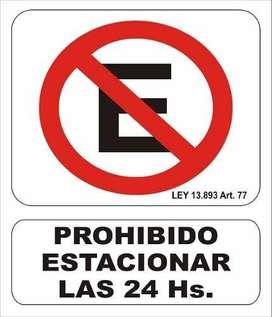 Cartel Prohibido Estacionar Las 24 Hs Alto Impacto 22x28