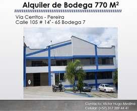 Arriendo Bodega En Pereira De 770 M2, Con Exoneración De Impuestos por el POT