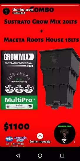 Sustrato Grow Mix 20lts + Maceta Roots House 18lts