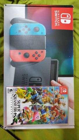 Nintendo Switch + juego de Smash Bros Ultimate