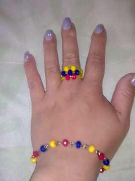 Conjunto de anillo y pulsera de Colombia