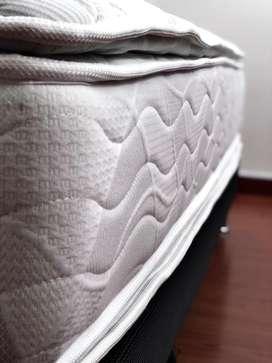 Cama Queen+colchón Doble Pillow+ Resortes Independientes