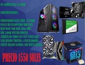 PC GAMER INTEL I3 9100F, 8GB RAM, GTX750TI, SSD240