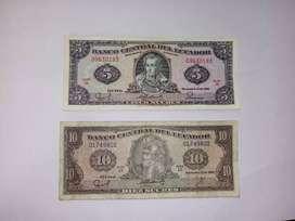 Billetes se 5 y 10 sucres 1988