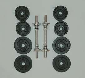 Kit de pesas 37 lbs / 8 discos / 2 mancuernas